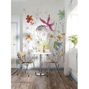 Mural-de-Parede-com-Flores-Coloridas-Estilizadas