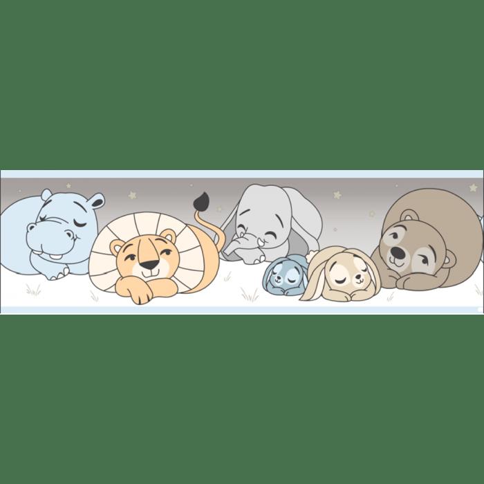 Faixa de Parede Treboli Azul Animais Dormindo 5911