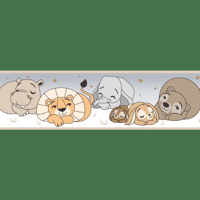 Faixa de Parede Treboli Bege Animais Dormindo 5913