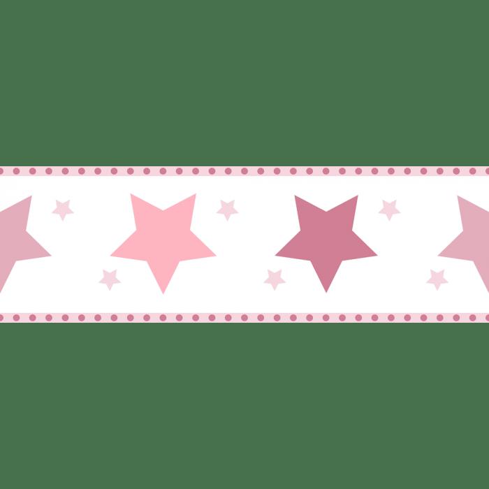 Faixa de Parede Treboli Estrelas Rosas 5942