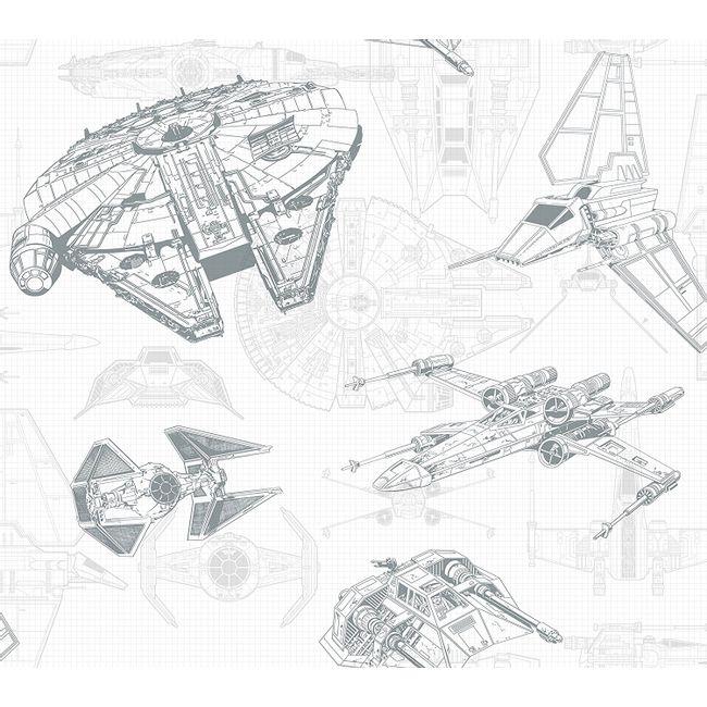 Papel de Parede Star Wars Esquemático de Naves DY0305