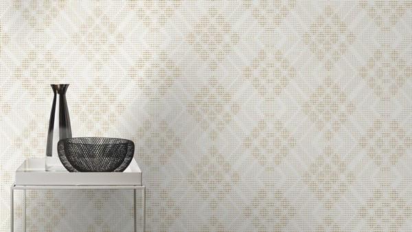 Papel de Parede Blue Velvet 3D Branco Gold - Rolo: 10m x 0,53m