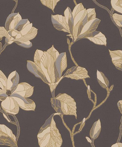 Papel de Parede Blue Velvet Folhas e Galhos Marrom - Rolo: 10m x 0,53m