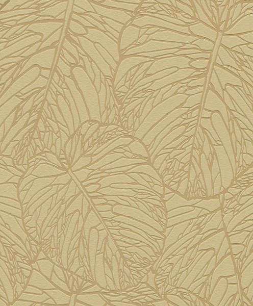 Papel de Parede Blue Velvet Folhas Mostarda Gold - Rolo: 10m x 0,53m