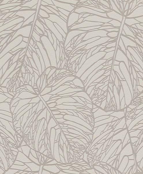 Papel de Parede Blue Velvet Folhas Cinza - Rolo: 10m x 0,53m