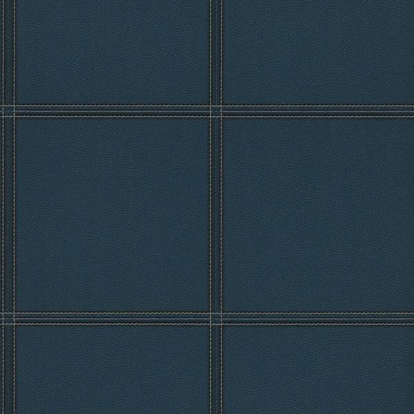 Papel de Parede Cosmopolitan Azul Couro e Costura - Rolo: 10m x 0,53m