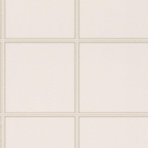 Papel de Parede Cosmopolitan Branco Couro e Costura - Rolo: 10m x 0,53m