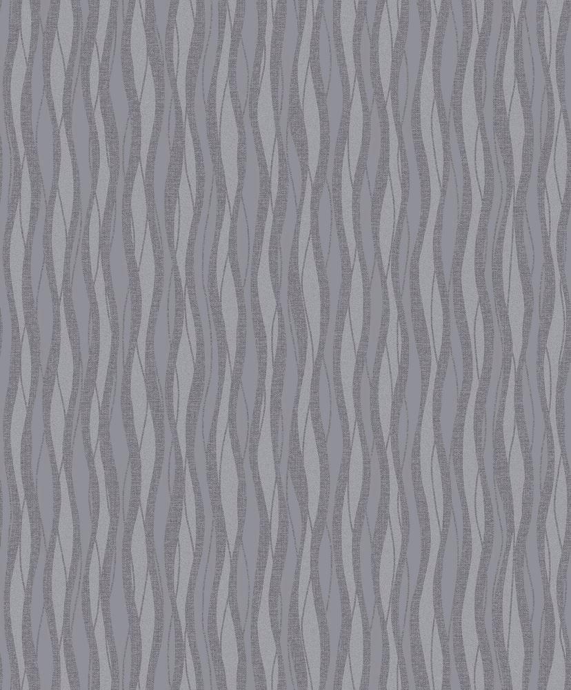 Papel de Parede Fusion Ondulado Cinza Brilho - Rolo: 10m x 0,53m