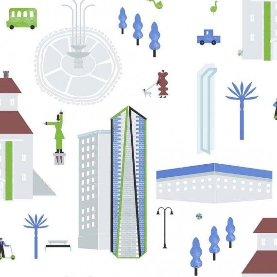 Papel de Parede Play Cidade 97103 - Rolo: 10m x 0,53m