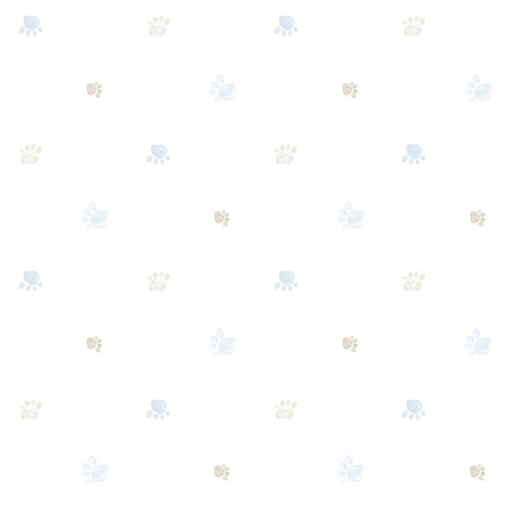 Papel de Parede Lullaby Pegadas Azul 2281 - Rolo: 10m x 0,53m