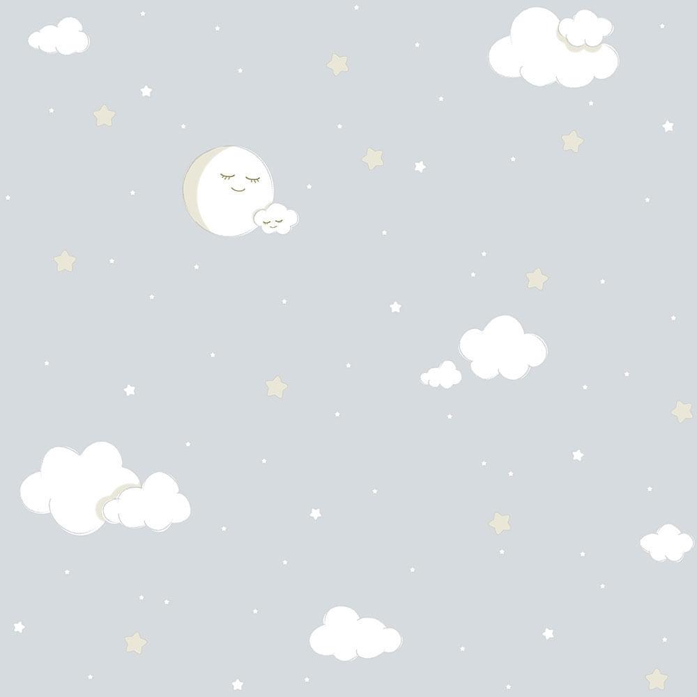 Papel de Parede Lullaby Lua Cheia Cinza 2213 - Rolo: 10m x 0,53m