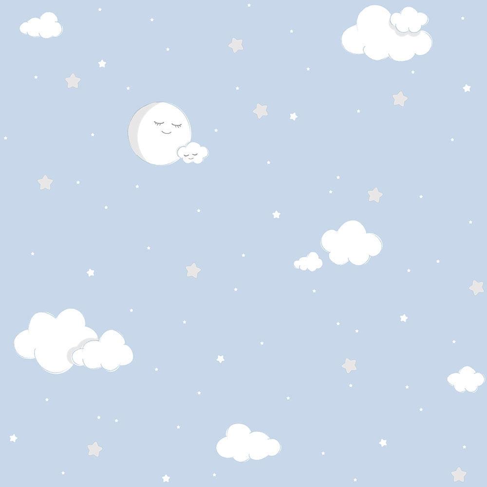 Papel de Parede Lullaby Lua Cheia Azul 2211 - Rolo: 10m x 0,53m