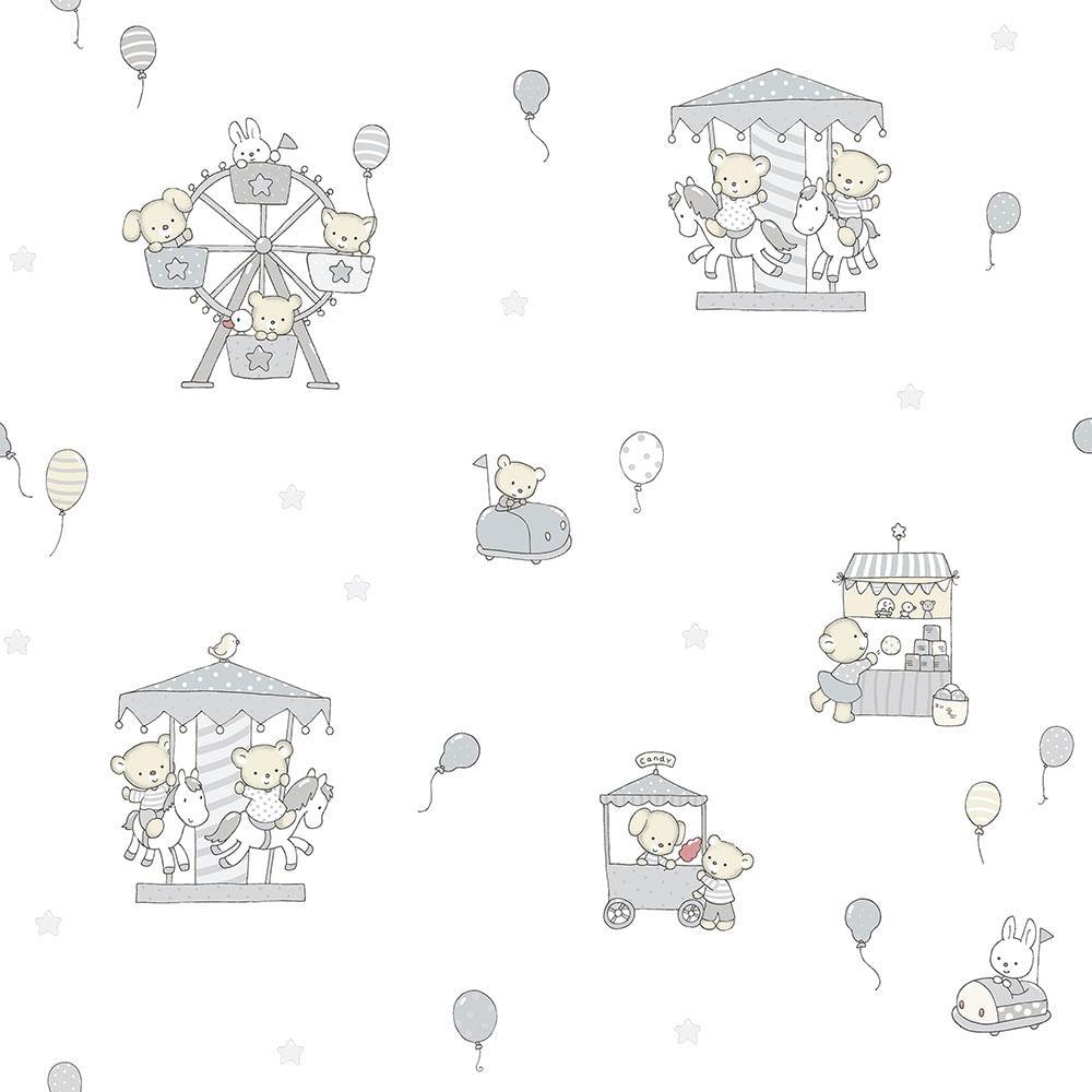 Papel de Parede Lullaby Carrossel Cinza 2203 - Rolo: 10m x 0,53m