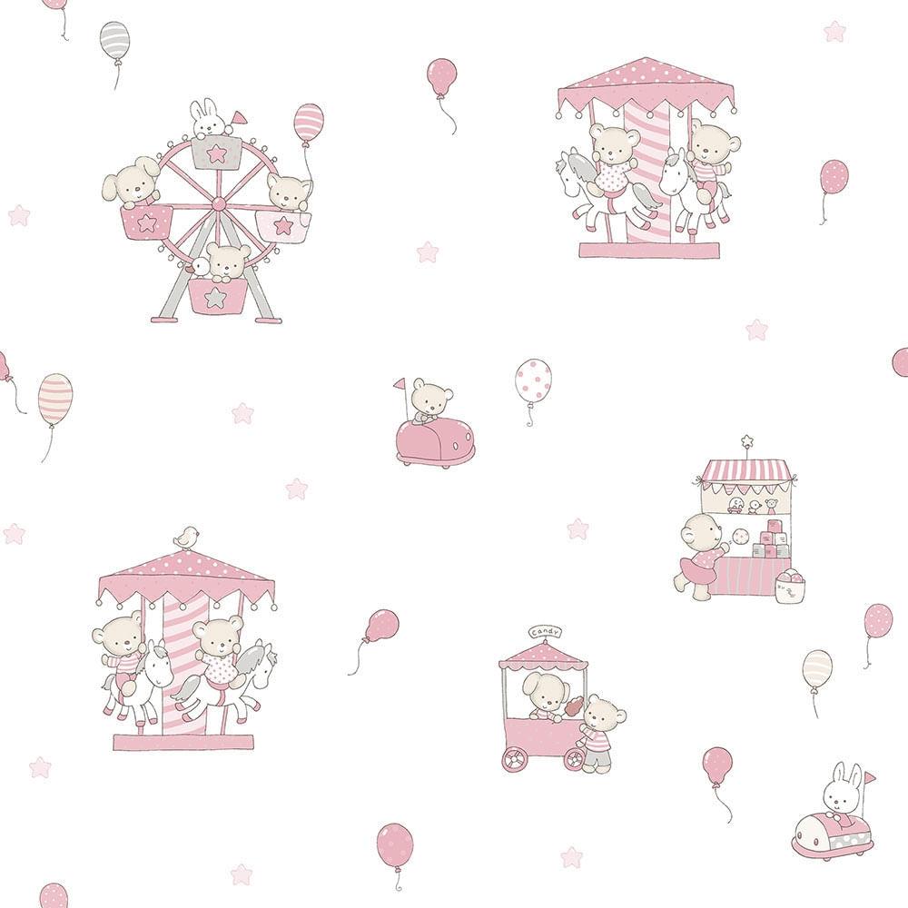 Papel de Parede Lullaby Carrossel Rosa 2202 - Rolo: 10m x 0,53m