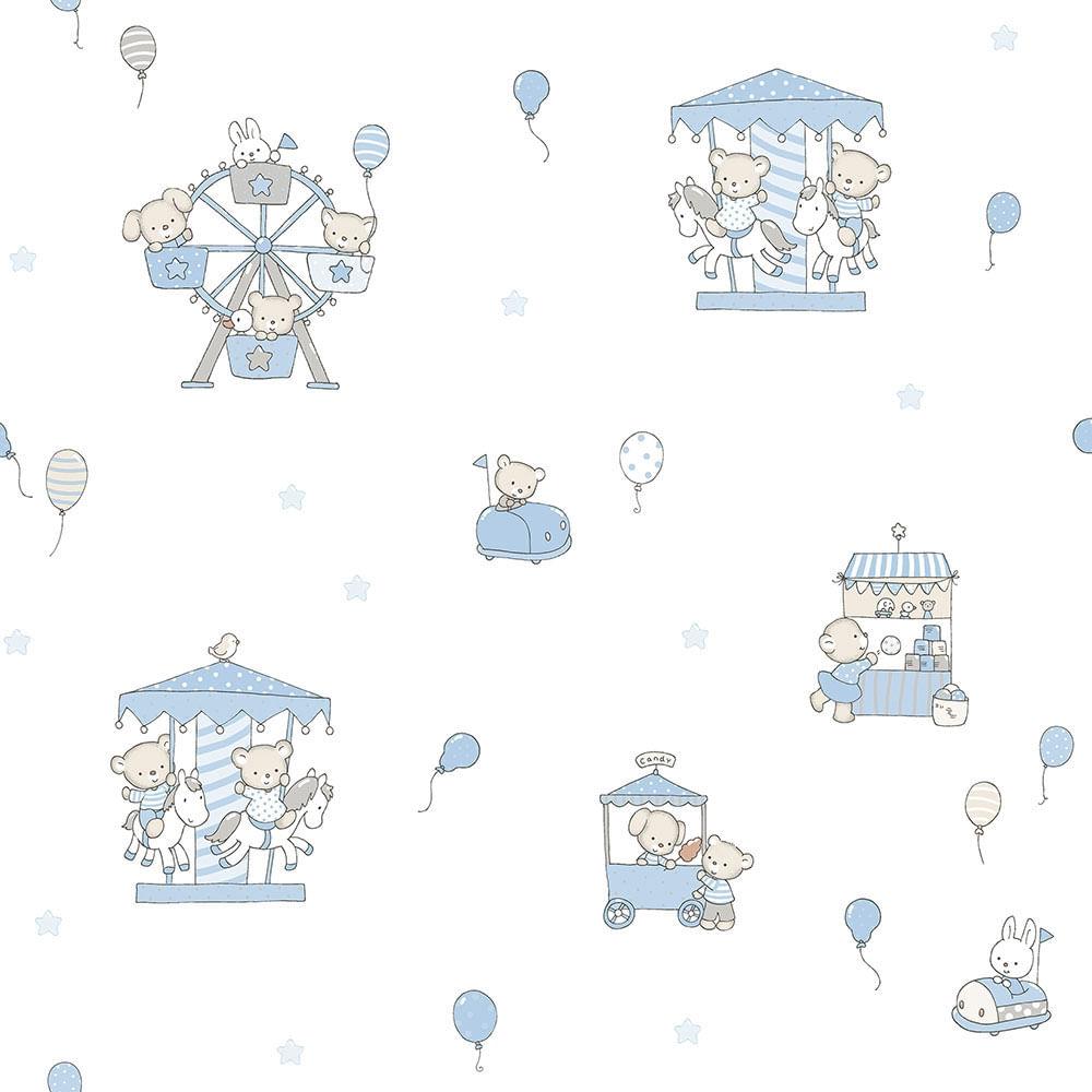 Papel de Parede Lullaby Carrossel Azul 2201 - Rolo: 10m x 0,53m