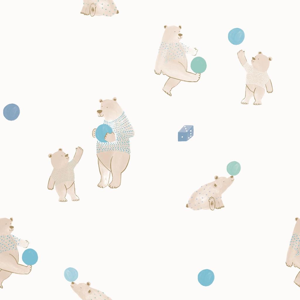 Papel de Parede Coleção Brincar Ursos 3624 - Rolo: 10m x 0,52m