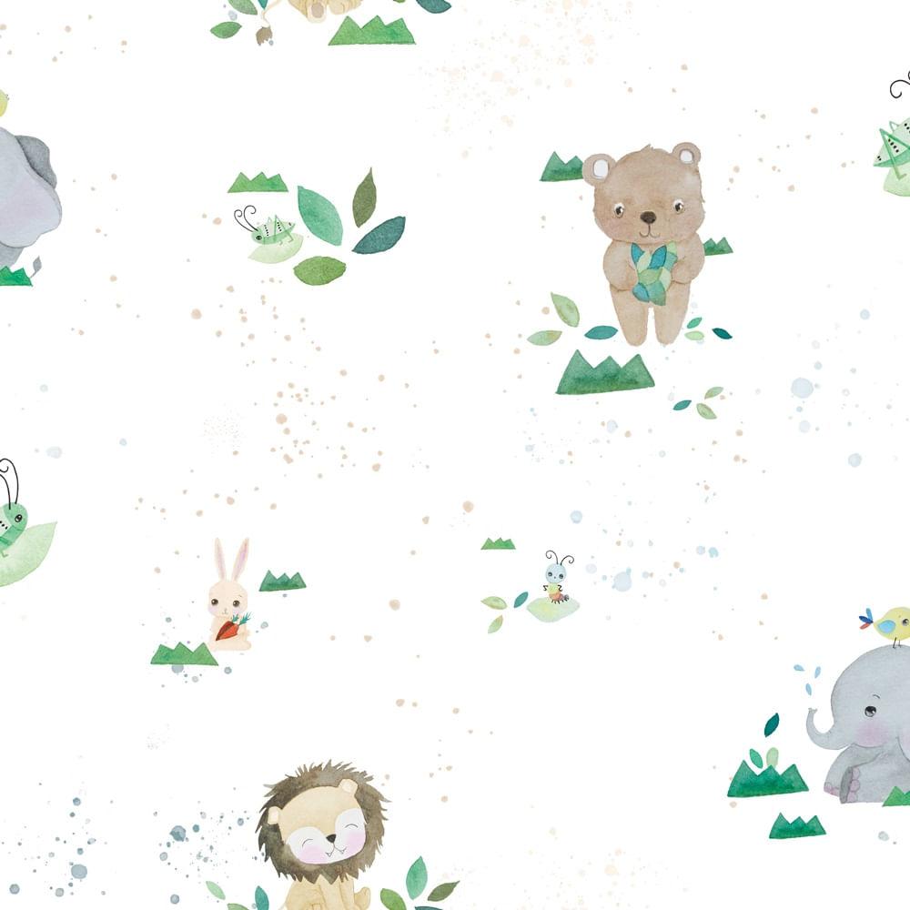 Papel de Parede Coleção Brincar Zoo 3618 - Rolo: 10m x 0,52m