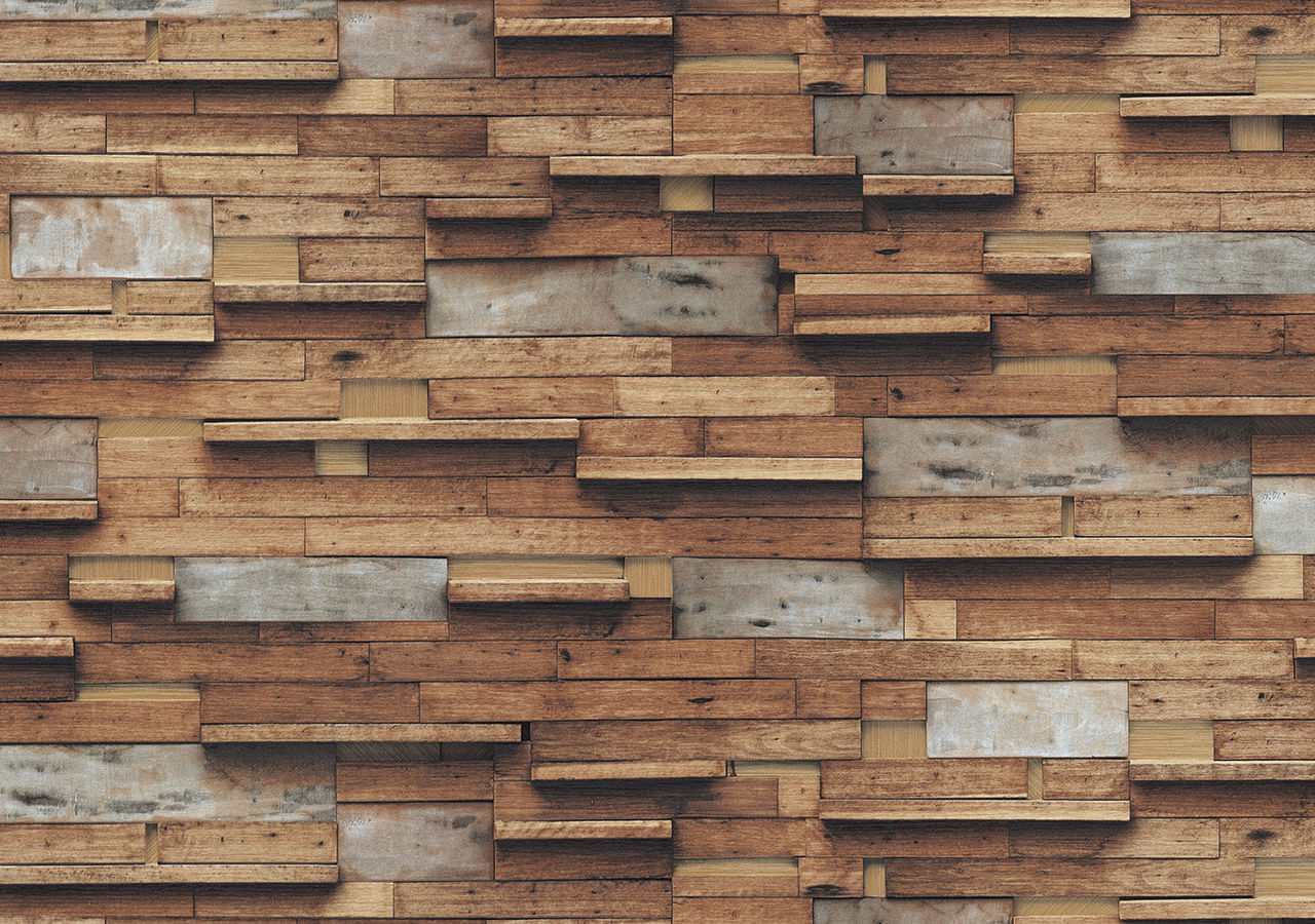 Papel de Parede Terra Gracia Multi Color Wood (Tan Brown) 831162