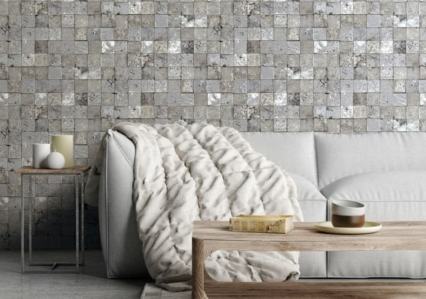 Papel de Parede Terra Gracia Square Stone (Oyster Grey) 831072