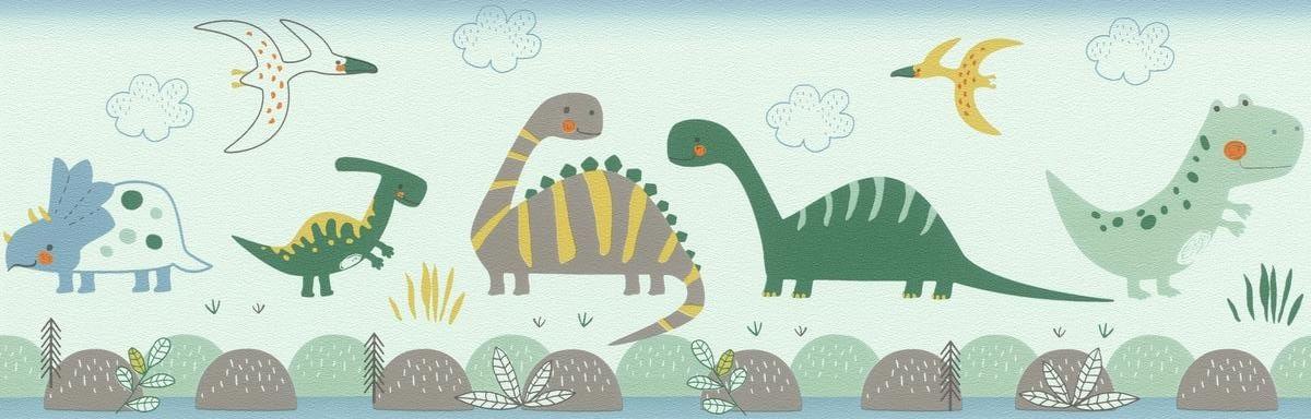 Faixa de Parede Bambino XVIII Dino 248852 - Rolo: 5m x 0,17m