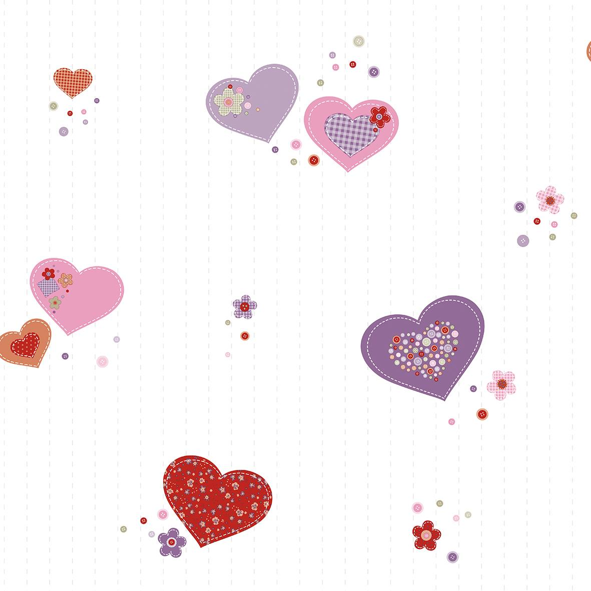 Papel de Parede Ola Baby 2 Corações OL220301R - Rolo: 10m x 0,53m