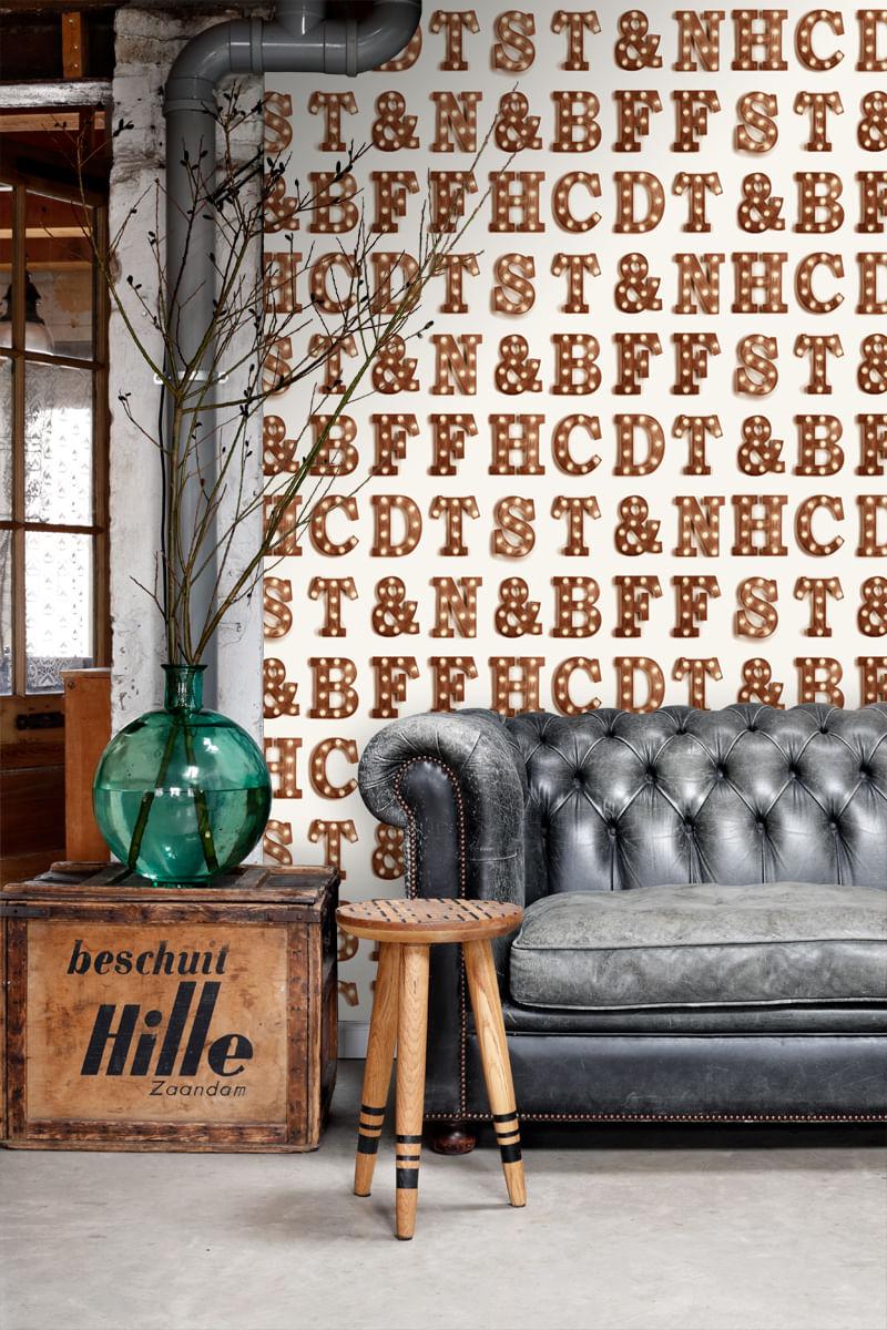 Papel de Parede FAB Wooden Light Letters 138850 - Rolo 10m x 0,53m