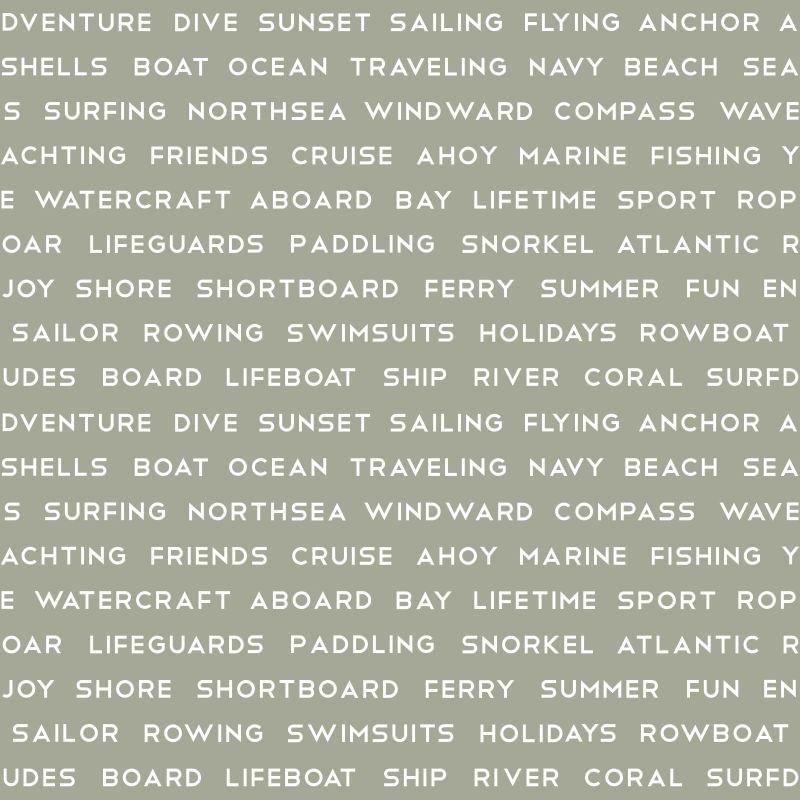 Papel de Parede Regatta Crew Texto Marítimo 138959 - Rolo 10m x 0,53m