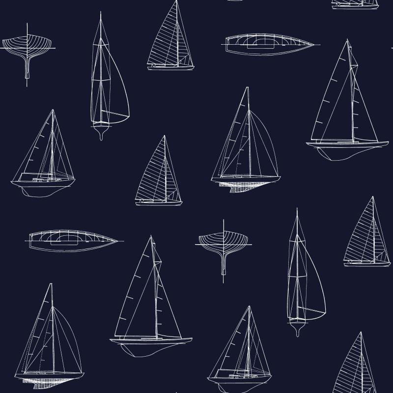 Papel de Parede Regatta Crew Desenho de Barco 136428 - Rolo 10m x 0,53m