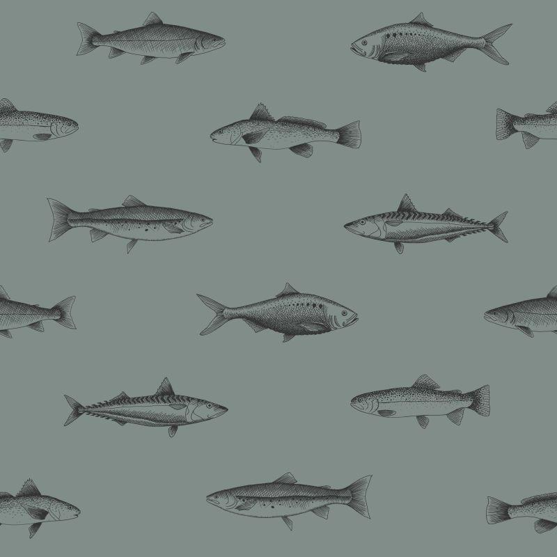 Papel de Parede Regatta Crew Desenho de Peixe 128874 - Rolo 10m x 0,53m